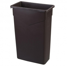 SLIM RECTANGULAR BLACK 23 GALLON TRASH / GARBAGE CONTAINER  - SOLD EACH
