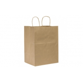 "PAPER BAG, HANDLED, KRAFT, 12"" X 9"" X 13-3/4"" - 100 PER CASE"
