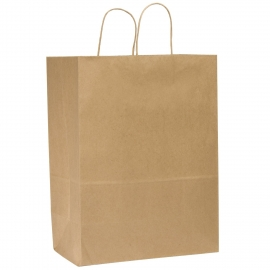 "DURO PAPER BAG, HANDLED, KRAFT, 13"" X 6"" X 15-3/4"" - 250 PER CASE"