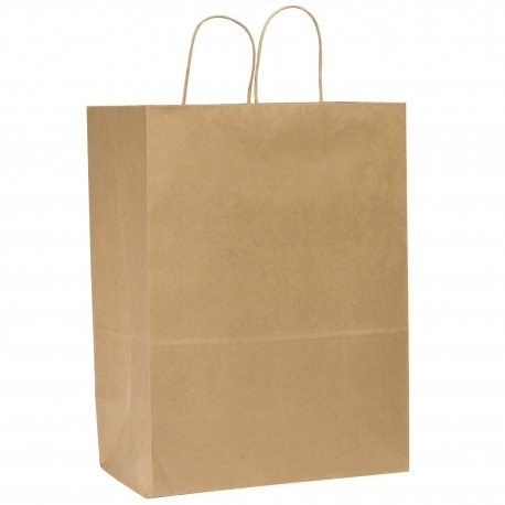 "DURO PAPER BAG, HANDLED, KRAFT, 13"" X 6"" X 15-3/4"" - 250 PER CASE"
