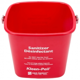 SAN JAMAR KLEEN-PAIL, 6 QT RED SANITIZING PAIL WITH HANDLE (EACH)