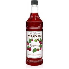 MONIN RASPBERRY FLAVORED SYRUP, PLASTIC LITER BOTTLE - 4 PER CASE