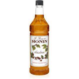 MONIN HAZELNUT FLAVORED SYRUP, PLASTIC LITER BOTTLE - 4 PER CASE