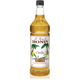 MONIN VANILLA FLAVORED SYRUP, PLASTIC LITER BOTTLE - 4 PER CASE