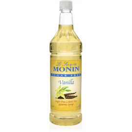 MONIN, SUGAR-FREE VANILLA FLAVORED SYRUP, PLASTIC LITER BOTTLE - 4 PER CASE