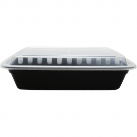 KARAT 38 OZ BLACK RECTANGULAR TO-GO CONTAINER COMES IN COMBO PACK WITH LIDS