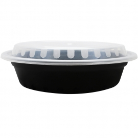 KARAT 24 OZ BLACK ROUND TO-GO CONTAINER, COMBO PACK WITH LIDS (150)