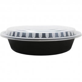 KARAT 48 OZ BLACK ROUND TO-GO CONTAINER, COMBO PACK WITH LIDS (150)