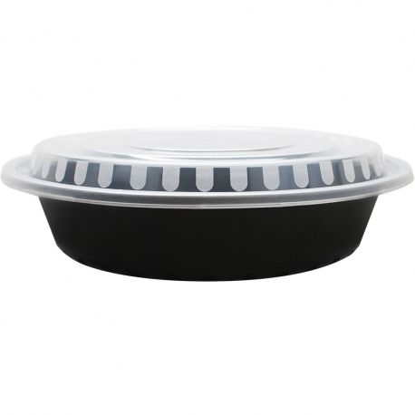 KARAT48 OZ BLACK ROUND TO-GO CONTAINER COMES IN A COMBO PACK WITH LIDS