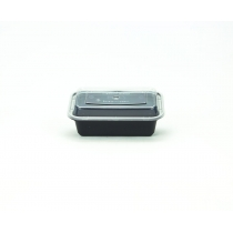 PLATINUM CROWN 24 OZ BLACK RECTANGLE TO GO CONTAINER COMBO PACK WITH LIDS