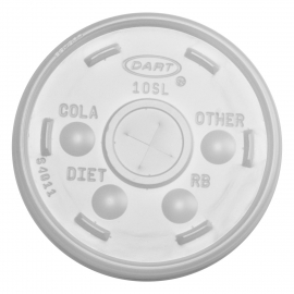 DART 10SL TRANSLUCENT PLASTIC LID, W/STRAW SLOT, FOR FOAM CUPS (1000)