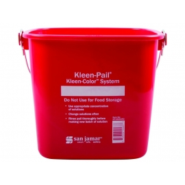 SAN JAMAR KLEEN-PAIL, 3 QT RED SANITIZING PAIL WITH HANDLE (EACH)