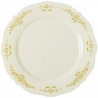 "FINELINE 7.5"" ROUND BONE PLATE W/GOLD DESIGN ""HERITAGE"" TRIM - 120 PER CASE"