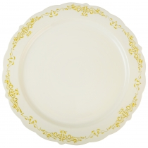 "FINELINE 10"" ROUND BONE PLATE W/GOLD DESIGN ""HERITAGE"" TRIM - 120 PER CASE"