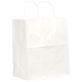 "PAPER BAG, HANDLED, WHITE, 8"" X 4.5"" X 10.25"" - 250 PER CASE"