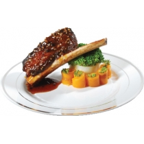 """FINELINE 10"""" ROUND WHITE PLATE WITH 2 SILVER BANDS, 510-WH (120)"""
