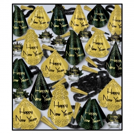 BEISTLE GOLD GRAND NEW YEAR'S PARTY FAVOR KIT FOR 100 PEOPLE
