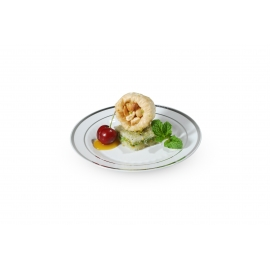 "FINELINE 6"" ROUND WHITE PLATE WITH 2 SILVER BANDS, 506-WH (150)"