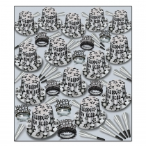 BEISTLE GEM STAR SILVER DELUXE NEW YEAR'S PARTY FAVOR KIT FOR 100 PEOPLE