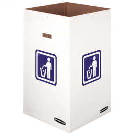 "SQUARE WHITE 42 GALLON CARDBOARD TRASH CONTAINER, 18"" X 18"" X 30"" H - 10 PER CASE"