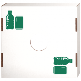 """LID FOR SQUARE CARDBOARD TRASH CAN, """"CAN/BOTTLE RECYCLING"""" ICON (10/CASE)"""