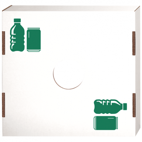 """LID FOR SQUARE CARDBOARD TRASH CAN, """"CAN/BOTTLE RECYCLING"""" ICON/USE - 10 PER CASE"""