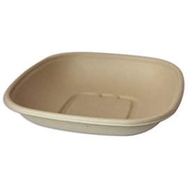 WORLD CENTRIC 32 OZ SQUARE UNBLEACHED PLANT FIBER BOWL (400/CASE)