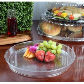 "FINELINE HR1220.CL, PLASTIC 12"" CLEAR CATERING TRAY EXTRA HEAVY (25/CASE)."