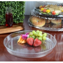 "FINELINE HR1620.CL, PLASTIC 16"" CLEAR CATERING TRAY EXTRA HEAVY (25/CASE)"