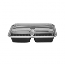 KARAT 32 OZ BLACK 3-COMPARTMENT RECTANGULAR TO-GO CONTAINER COMES IN COMBO PACK WITH LIDS