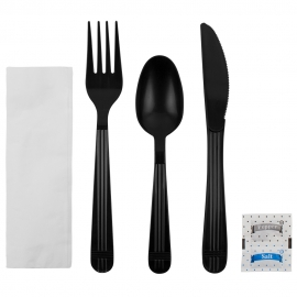 CUTLERY KIT, BLACK, HEAVYWEIGHT PP, K/F/S-NAP-S&P, INDIVIDUALLY WRAPPED (250)