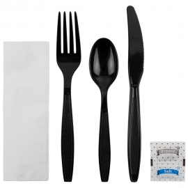 CUTLERY KIT, BLACK, HEAVYWEIGHT PS, K/F/S-NAP-SALT & PEPPER, INDIVIDUALLY WRAPPED (250)