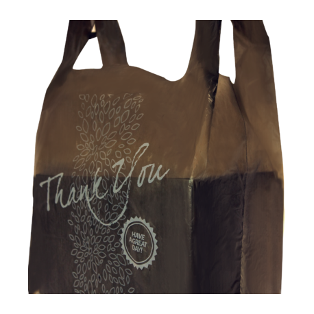 "PLASTIC PREMIUM TO GO BAG -  ""THANK YOU"" WHITE PRINT ON BLACK BAG - 1,000 PER CASE"