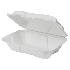 "KARAT BAGASSE HINGED LID 9"" X 6"" 1-COMPARTMENT TO GO BOX (200)"