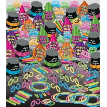 BEISTLE NEON GLOW BONANZA DELUXE NEW YEAR'S PARTY FAVOR KIT FOR 100 PEOPLE