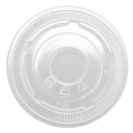 KARAT FLAT NO HOLE CLEAR PLASTIC LID, FOR 9 & 12 OZ / 92MM RIM (1000)