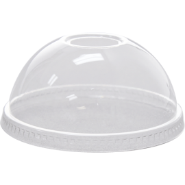 KARAT CLEAR DOME PLASTIC LID, W/REGULAR HOLE, FOR 12-24 OZ / 98MM RIM (1000/CS)
