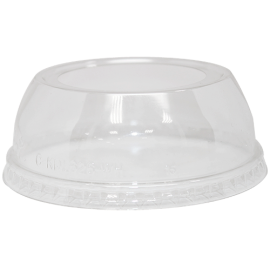 KARAT CLEAR DOME PLASTIC LID, WITH WIDE HOLE, FOR 12-24 OZ / 98MM RIM (1000/CS)