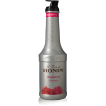 MONIN RASPBERRY PUREE, PLASTIC LITER BOTTLE - 4 PER CASE