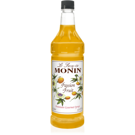 MONIN PASSION FRUIT FLAVORED SYRUP, PLASTIC LITER BOTTLE - 4 PER CASE