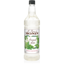 MONIN FROSTED MINT FLAVORED SYRUP, PLASTIC LITER BOTTLE - 4 PER CASE