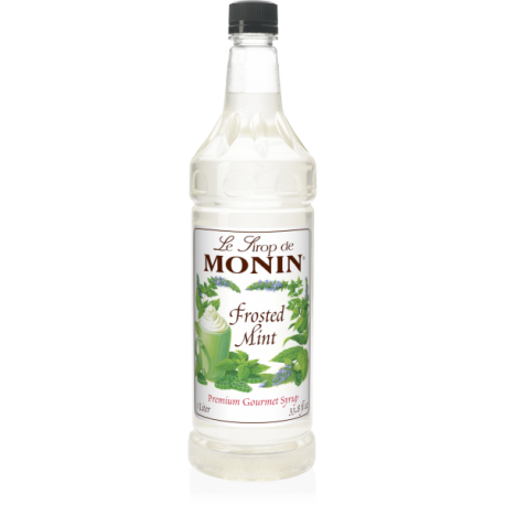 MONIN FROSTED MINT FLAVORED SYRUP, PLASTIC LITER BOTTLE - 4 PER CASE
