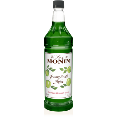 MONIN GRANNY SMITH APPLE FLAVORED SYRUP, PLASTIC LITER BOTTLE - 4 PER CASE