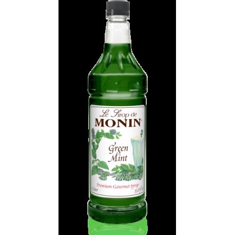 MONIN GREEN MINT FLAVORED SYRUP, PLASTIC LITER BOTTLE - 4 PER CASE