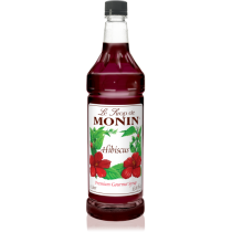 MONIN HIBISCUS FLAVORED SYRUP, PLASTIC LITER BOTTLE - 4 PER CASE