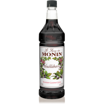 MONIN HUCKLEBERRY FLAVORED SYRUP, PLASTIC LITER BOTTLE - 4 PER CASE