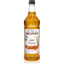 MONIN SALTED CARAMEL FLAVORED SYRUP, PLASTIC LITER BOTTLE - 4 PER CASE