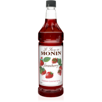 MONIN STRAWBERRY FLAVORED SYRUP, PLASTIC LITER BOTTLE - 4 PER CASE