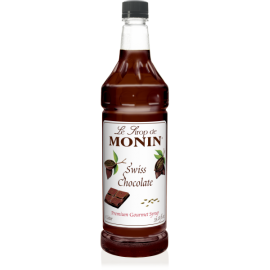MONIN SWISS CHOCOLATE FLAVORED SYRUP, PLASTIC LITER BOTTLE - 4 PER CASE