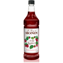 MONIN WILD RASPBERRY FLAVORED SYRUP, PLASTIC LITER BOTTLE - 4 PER CASE